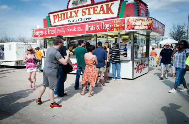 the chow wagon is a fixture at Waterfront Park in Louisville, Kentucky during the week leading up to the Kentucky Derby