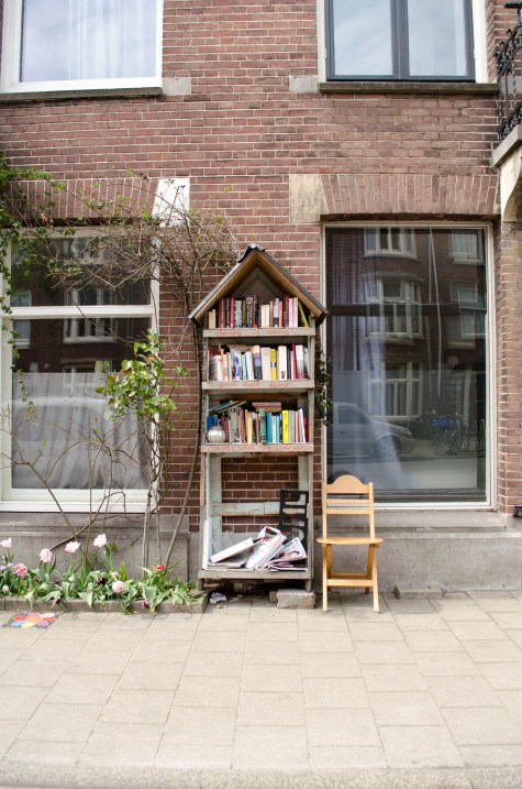 this tiny free public library in Amsterdam is full of books in English and Dutch