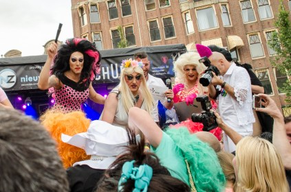 A drag queen scrum formed during the match of Bitch Volleyball at the Drag Queen Olympics celebrating Gay Pride in Amsterdam