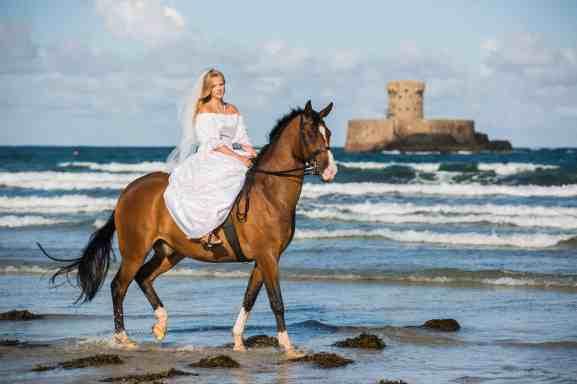 trash the dress beach horse photo shoot bride jersey