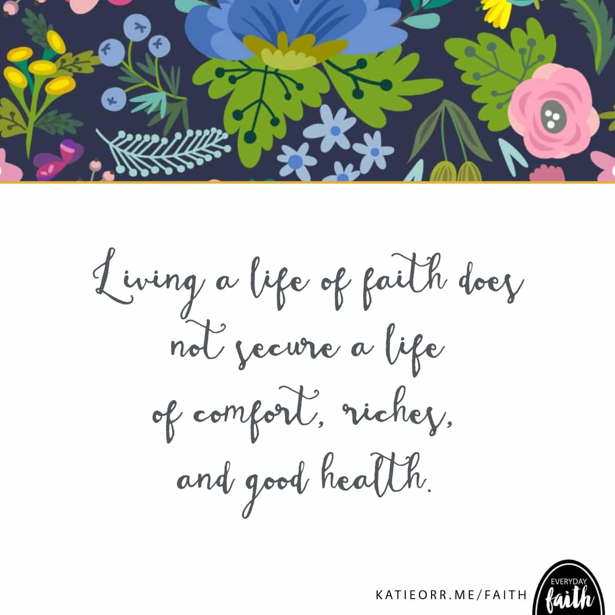 life of faith does not secure comfort