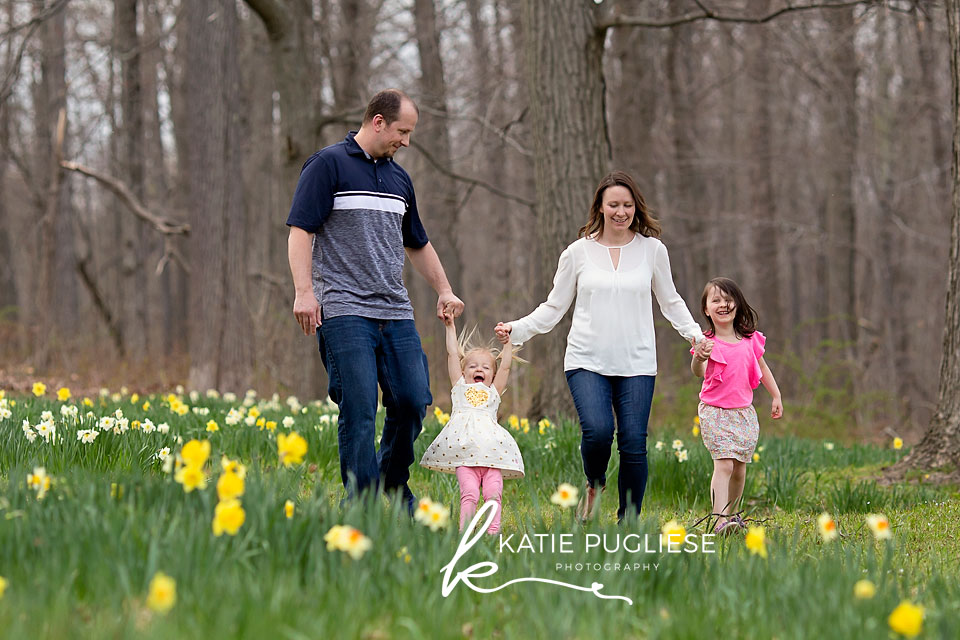 Fun family session in the flower field