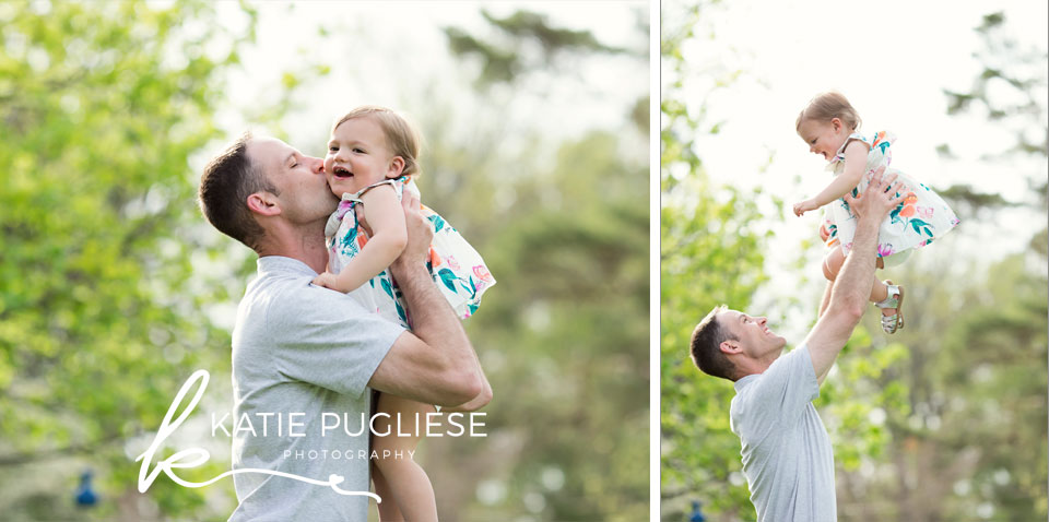 Daddy and Daughter having fun in spring
