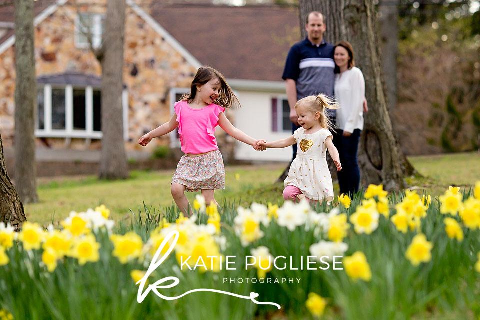 family in flower field