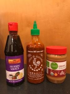 peanut sauce ingredients: hoisin sauce, sriracha sauce, creamy peanut butter