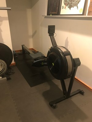 Concept 2 Rowing Machine in basement - Five Faves 2-15-19
