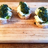 (Not Avocado) Toast: Sliced Baguette With Herbed Goat Cheese And Mint-Basil Pesto