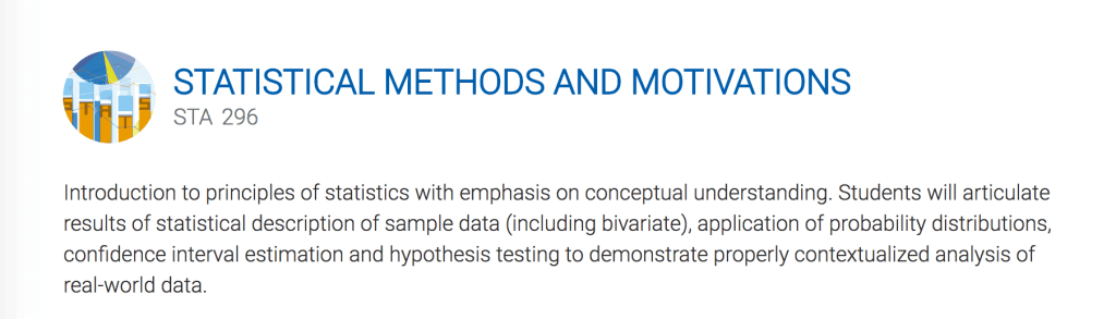 """Image alt-text: Statistical Methods and Motivations: """"Introduction to principles of statistics with emphasis of conceptual understanding"""" etc. etc. snore."""
