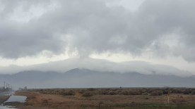 Heavy clouds trying to come over the mountains to the south.