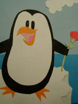 Happy Penguin floating on an iceberg Card!
