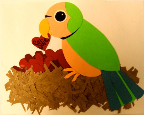 This is the fist card I ever sold! A pet parakeet dropping a little bit of love into its nest!