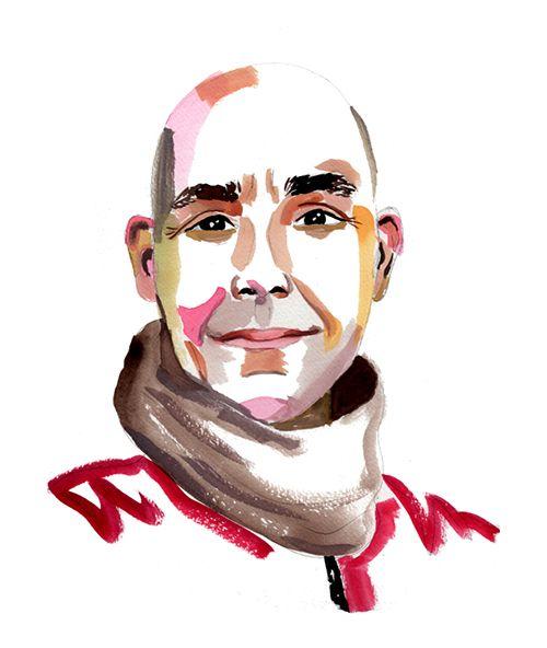 A brushy portrait of a man with a bald head and a soft gaze