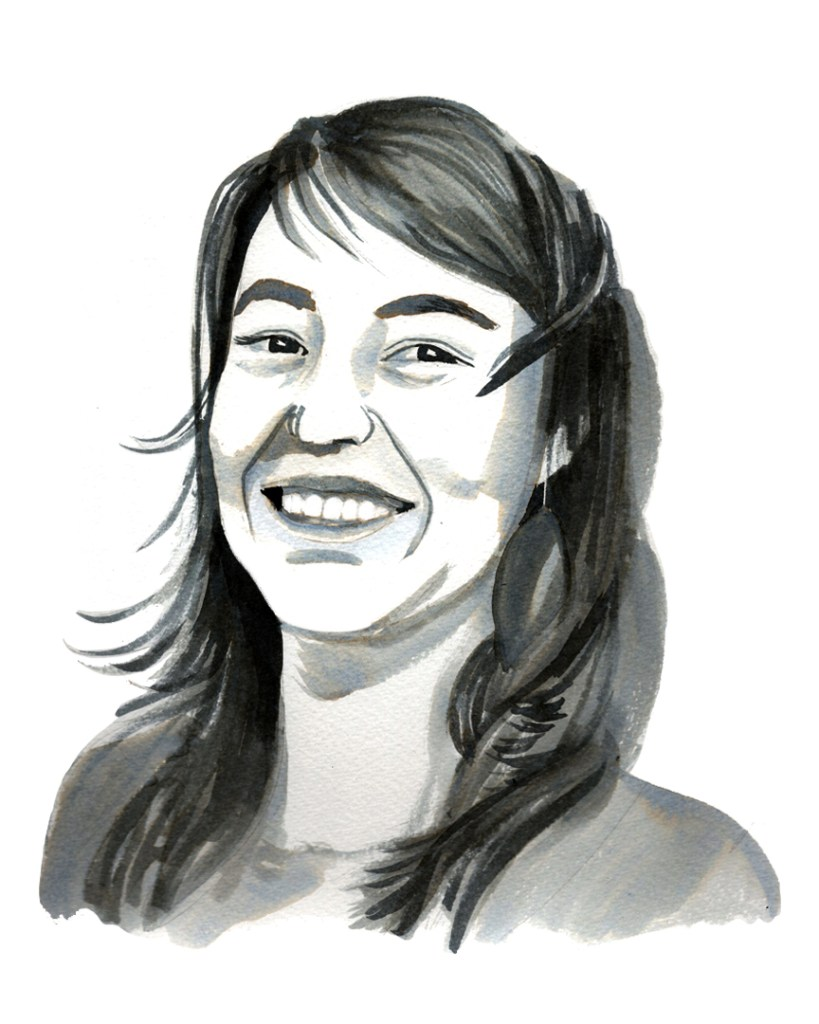 ink portrait of a smiling young woman with slightly windblown dark hair