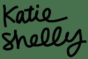 "Black cursive handlettering that reads ""katie shelly illustration"""