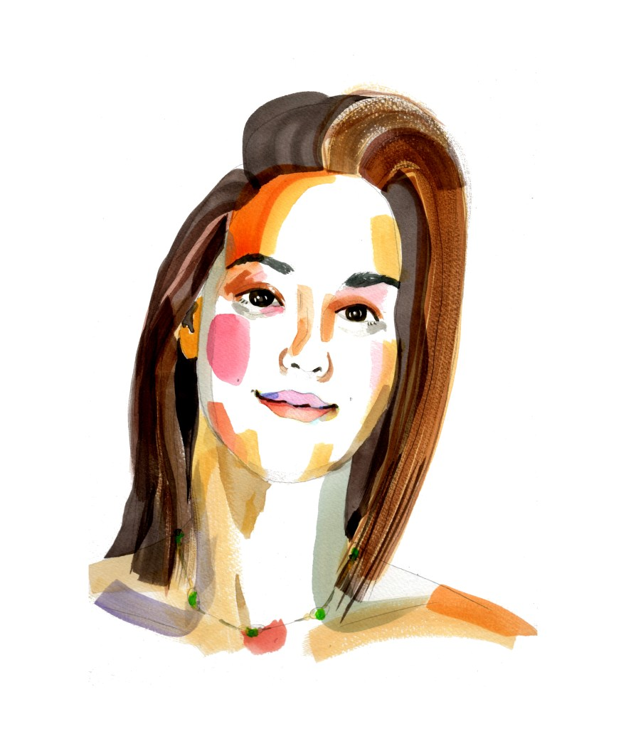 Swishy strokes watercolor portrait of a young brown-haired woman