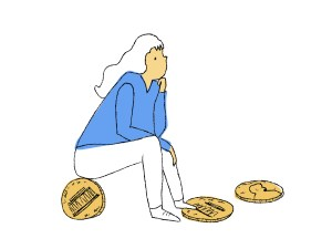 A woman sitting atop a large penny, lost in thought
