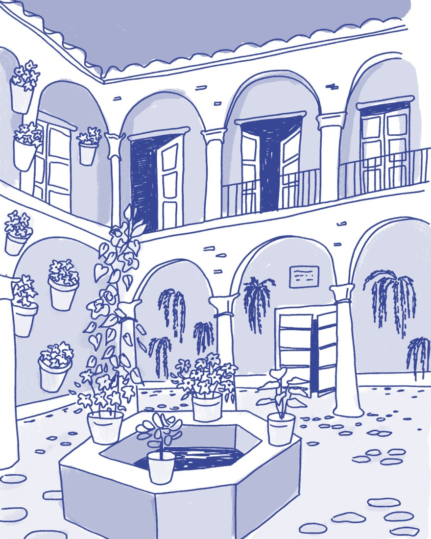A patio with arches and flower pots drawn in a cartoonish style in shades of blue