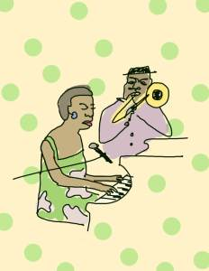 A childlike drawing of a woman seated at the piano and a man beside her playing the trumpet. Background of green polka dots.