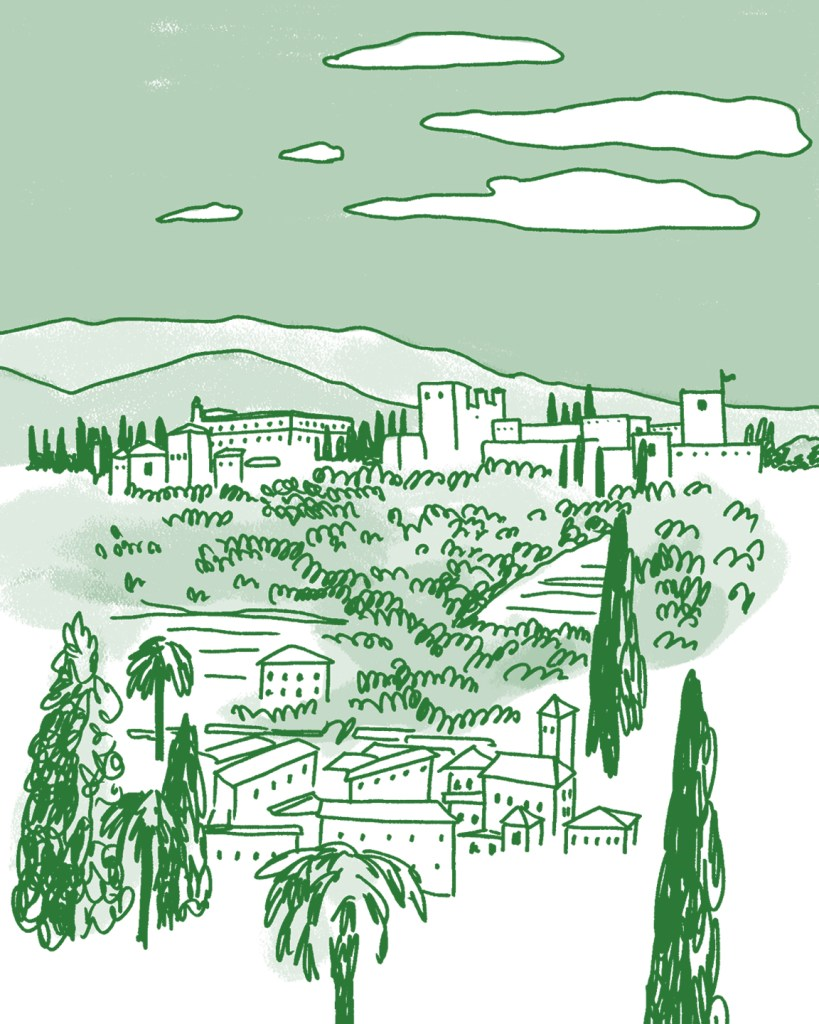 A cartoonish drawing in shades of green, of a citadel on a hill surrounded by palms and cypress trees