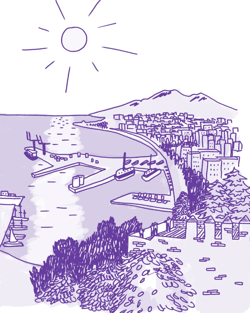 A cartoonish drawing of a coastal city rendered in shades of purple. There is a large marine port in the water.