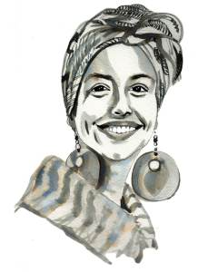 A black and white realistic portrait of a woman with headwrap and large earrings