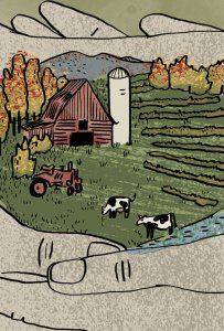 An illustration of two hands holding a parcel of farmland