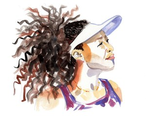 Brushy portrait of a woman in a white visor, looking to the right in profile, with very curly, voluminous hair