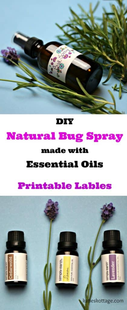 DIY Natural Bug Spray made with essential oils. Printable label for essential oils spray bottle.