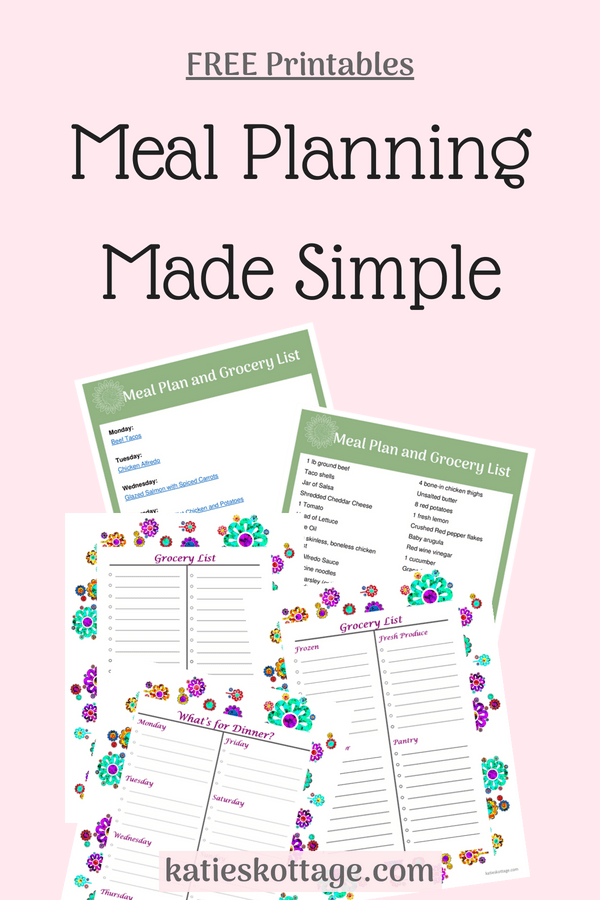 Meal planning made simple with these free meal planning printables. This includes a meal planner, blank grocery list, and one weeks worth of dinner plans with a grocery list. Plus, other tips for weekly meal planning. #mealplan #freeprintable