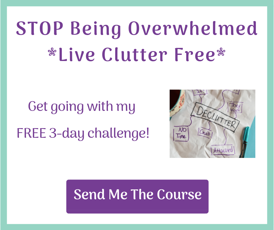 Decluttering is hard. Stop feeling overwhelmed and let me help you. Sign up for my 3 day challenge. Declutter your bedroom in 3 days!