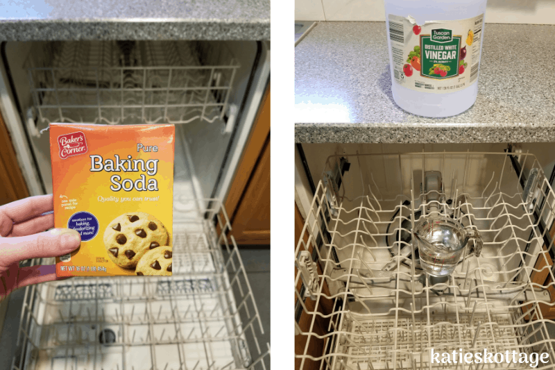 How to wash a dishwasher with vinegar and baking soda.