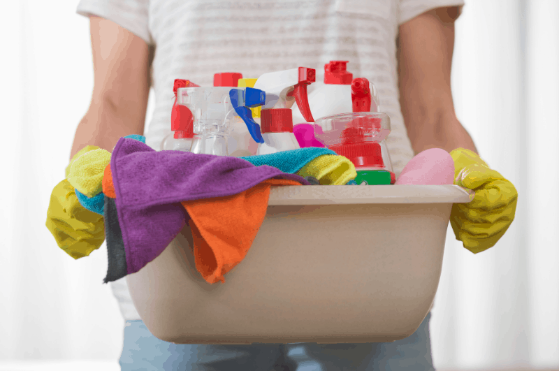 supplies for cleaning baseboards