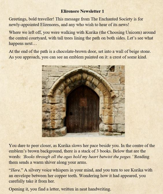 Elirenore Newsletter p1