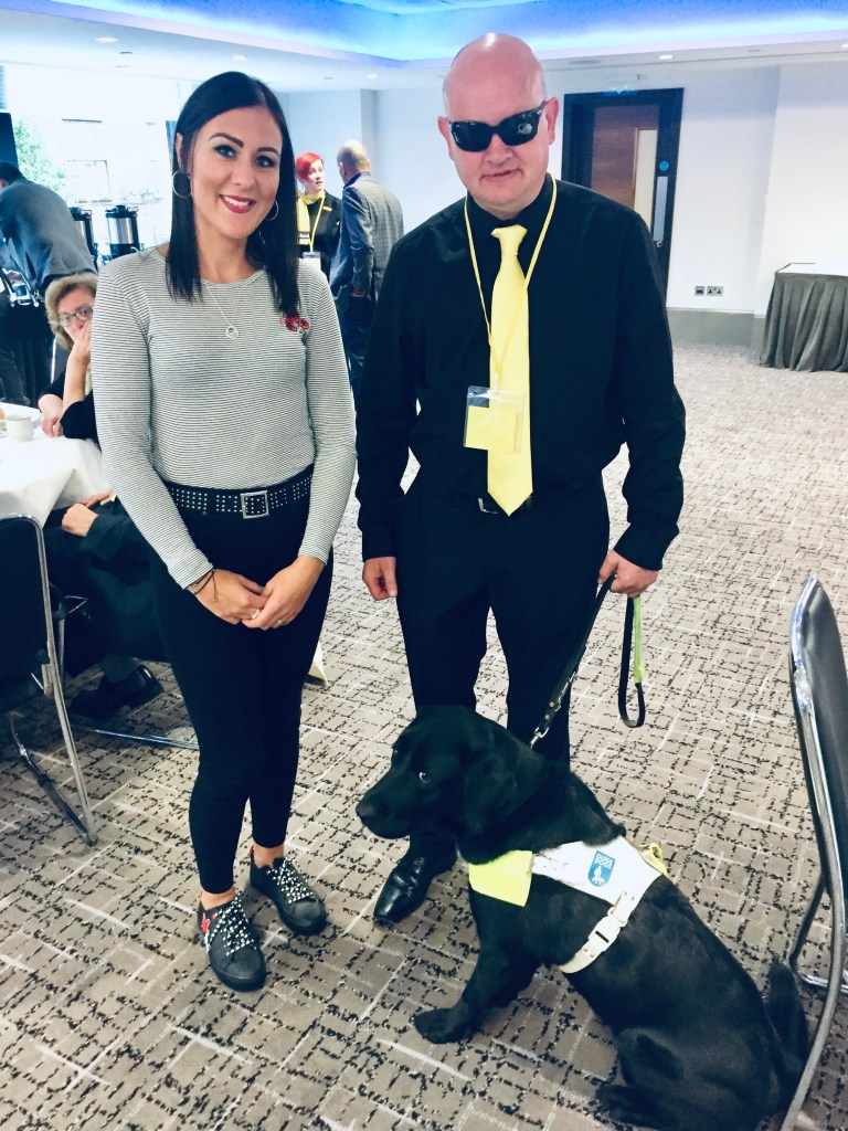Me with Colin and his guide dog from the Macular Society.