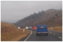 I brought a little spot of rain with us while we were stuck behind a convoy of Morris Minors.