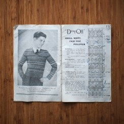 A pullover for a 'small man'. Such a quaint term. I love the notations on the page, especially the bit where an entire section of the pattern was deemed surplus to requirements and scribbled out.