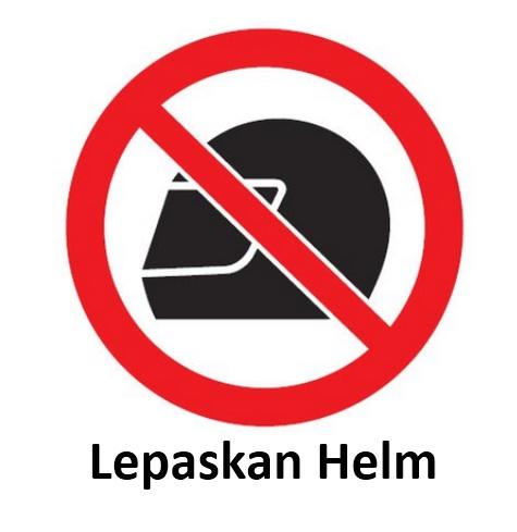 Rambu K3 lepaskan helm