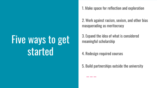 """Slide with """"Five ways to get started"""" on the left and bullet points (detailed in the text) on the right"""