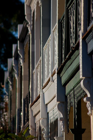 The colour of terraced houses. A row of terraced houses in Subiaco, Western Australia