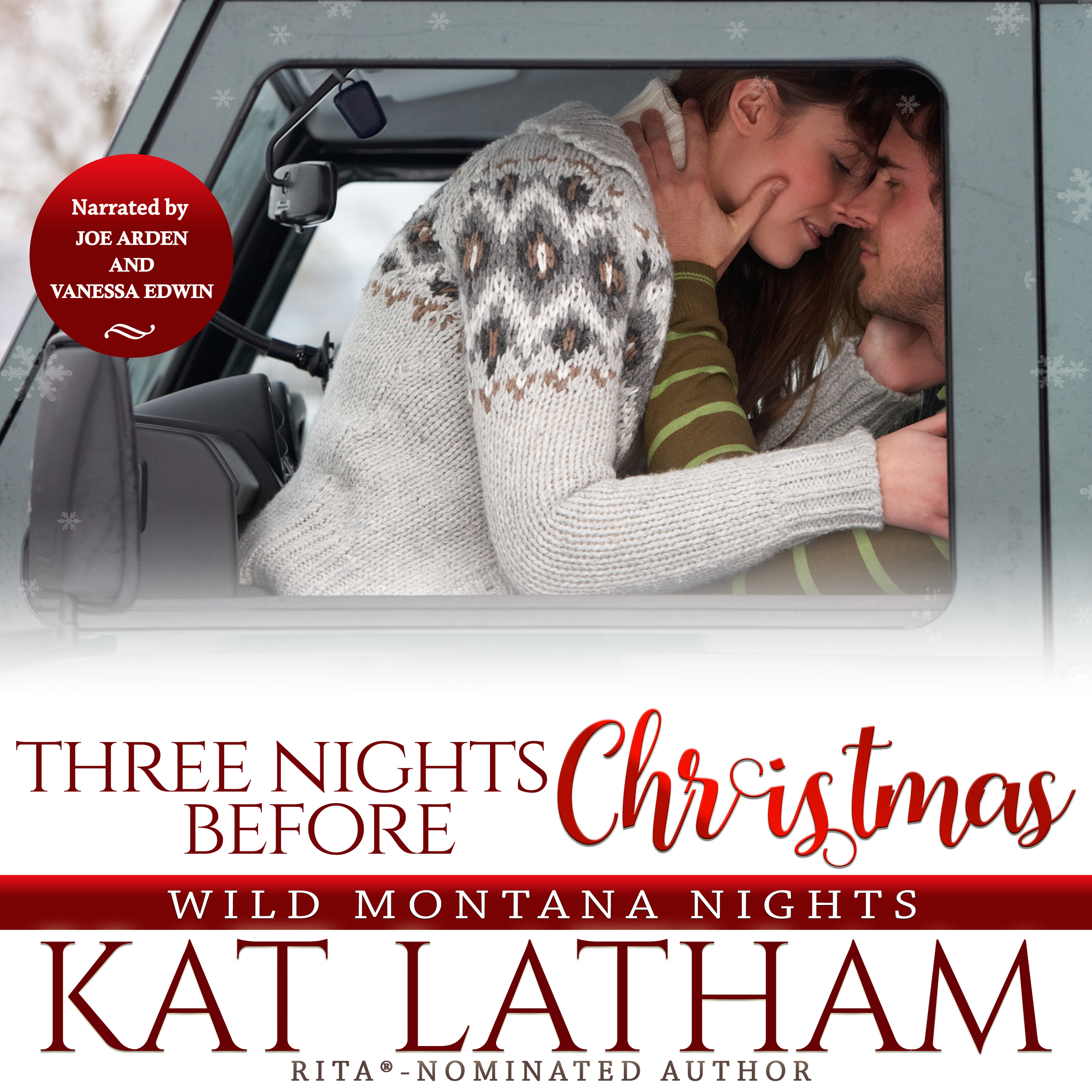 Three Nights Before Christmas by Kat Latham audiobook cover, performed by Vanessa Edwin and Joe Arden