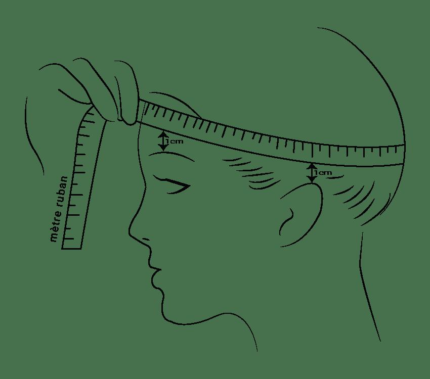Femme tenant un mètre pour mesurer son tour de tête