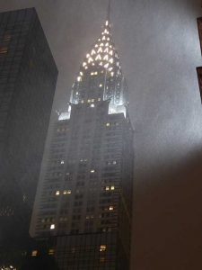 Chrysler Building in snow