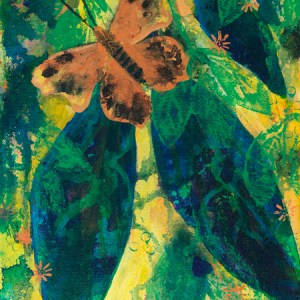 """On a Golden Journey,"" an abstract butterfly acrylic painting by Katrina Allen. Visit katrinaallenart.com to see more and order prints."