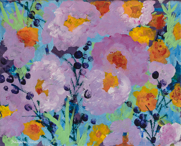 """""""Peace Washes In,"""" an abstract floral acrylic painting by Katrina Allen. Visit katrinaallenart.com to see more and order prints."""