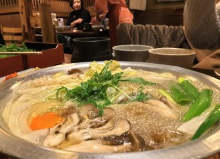 Shabu-shabu boiling on the table