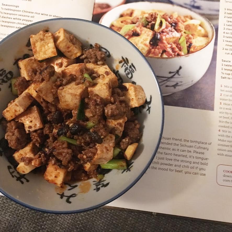 Illustration meines Rezepts für Mapo-Tofu