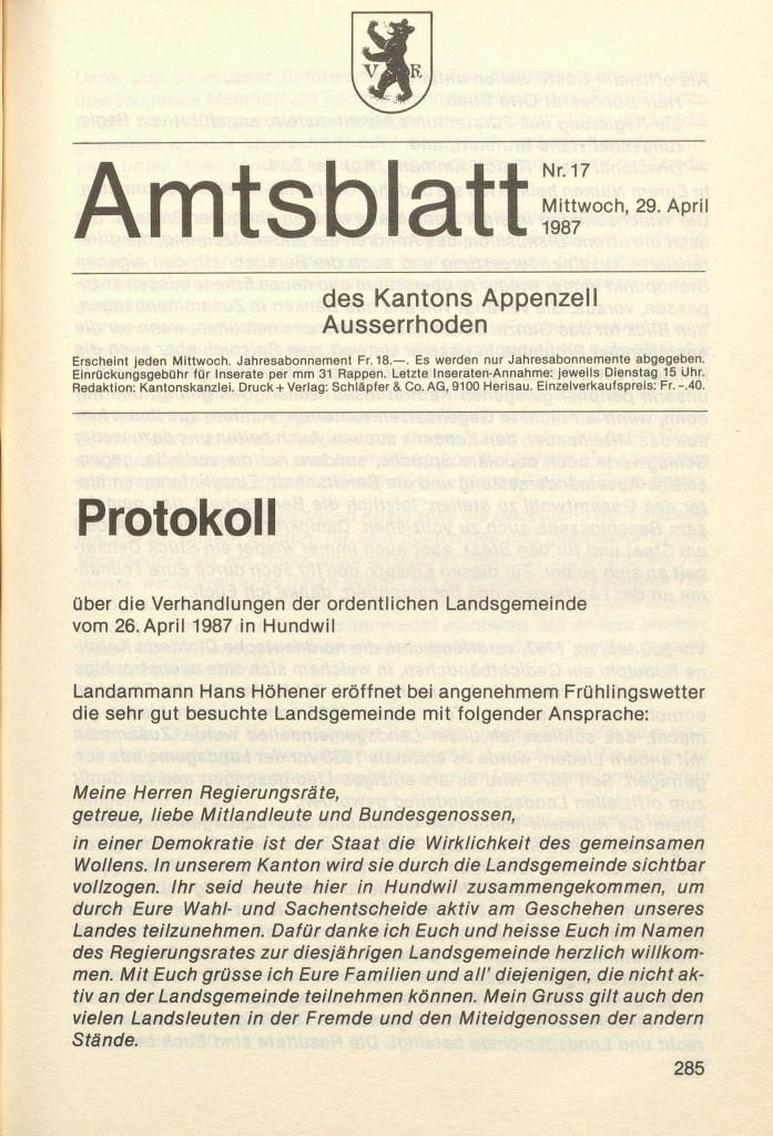 Amtsblatt Protokoll, Landsgemeinde 1987