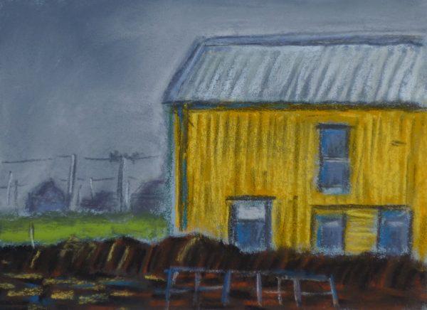 Das gelbe Haus, Pastell 10 x 15 cm