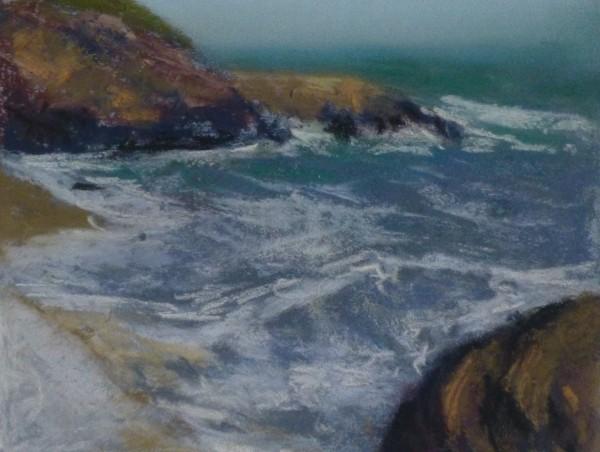 An der Küste Crail, Pastell 10 x 15 cm
