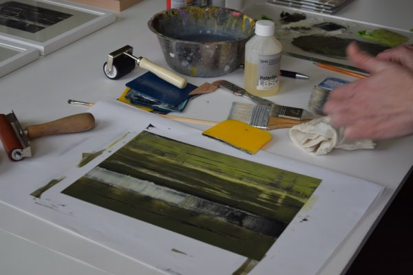 Zustand der Druckplatte vor dem Abzug, Foto: Anke Johannsen